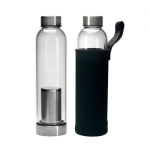PRIMULA BREW TRAVEL BOTTLE 20OZ WITH FILTER AND BLACK NEOPRENE SLEEVE CLEAR