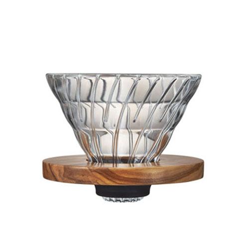 HARIO COFFEE DRIPPER GLASS V60 02 OLIVE WOOD