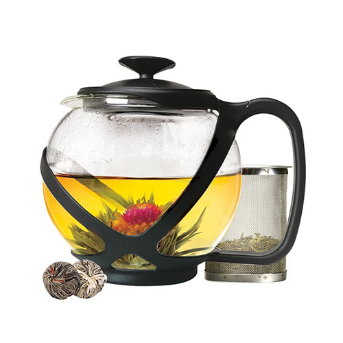 PRIMULA TEMPO 40 OZ. GLASS TEAPOT AND LID WITH STAINLESS STEEL INFUSER AND 2 GREEN TEA FLOWERS